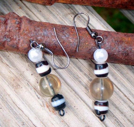 Zebra Inspried Pearl and Bead Drop Earrings item 1623