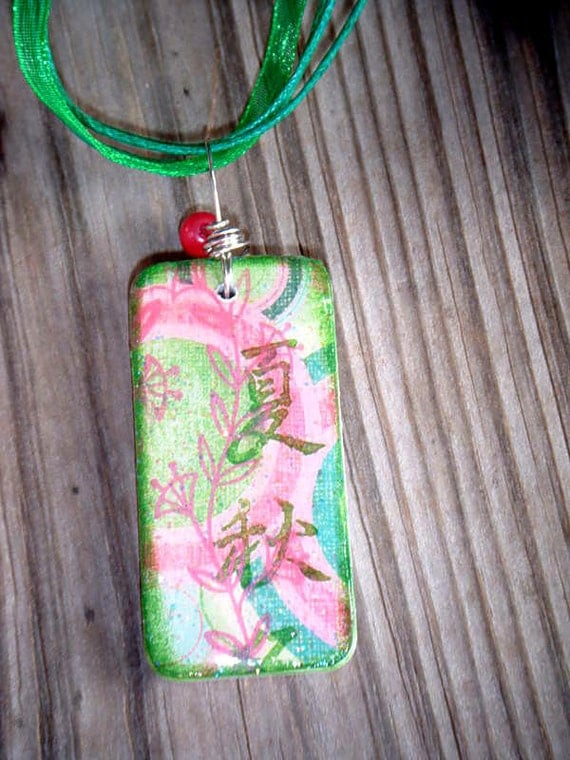 SALE PRICED***Words of Encouragement Asian Inspired Domino Pendant with glitter resin finish 1541