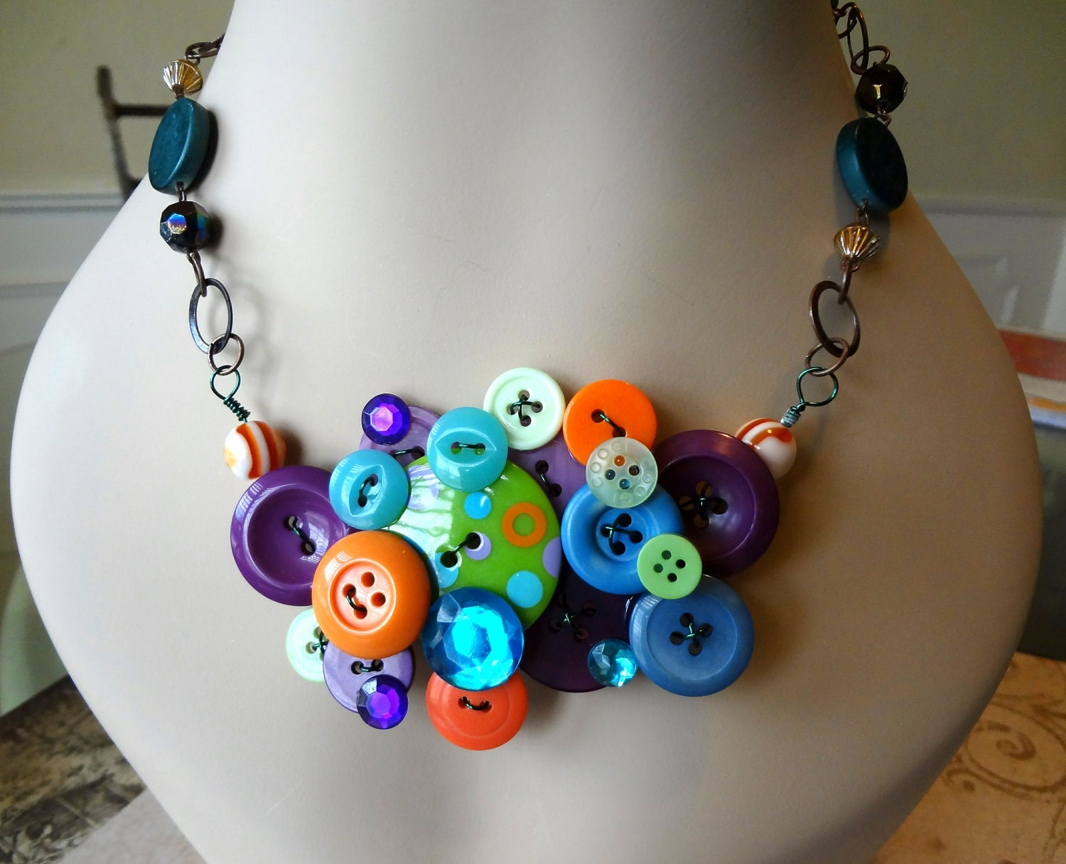mardi gras button necklace necklace repurposed buttons