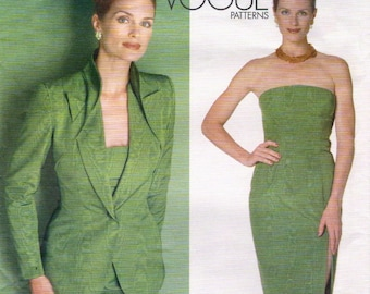 Alexander McQueen for Givenchy strapless sheath dress & jacket pattern -- Vogue Paris Original 2086