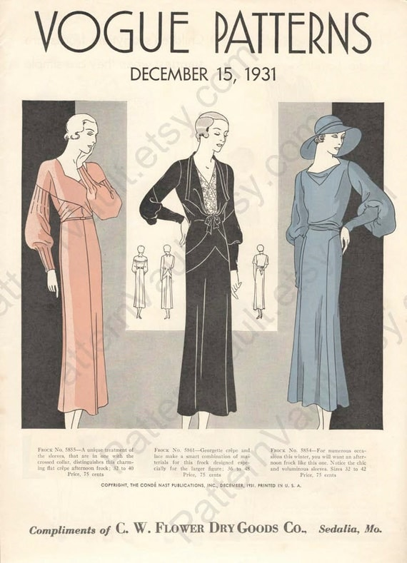 1930s Vogue Patterns booklet, December 15, 1931