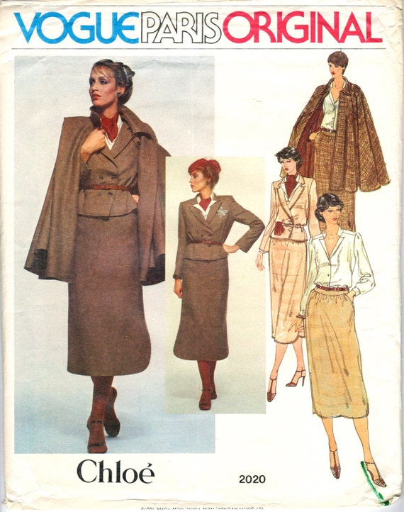 Late 1970s cape ensemble pattern, Vogue 2020 by Chloé