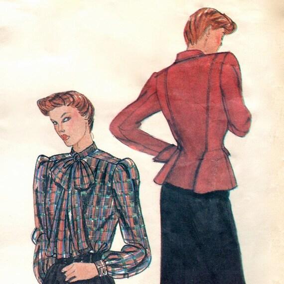 Early 1980s Christian Dior peplum suit & blouse pattern -- Vogue Paris Original 2579