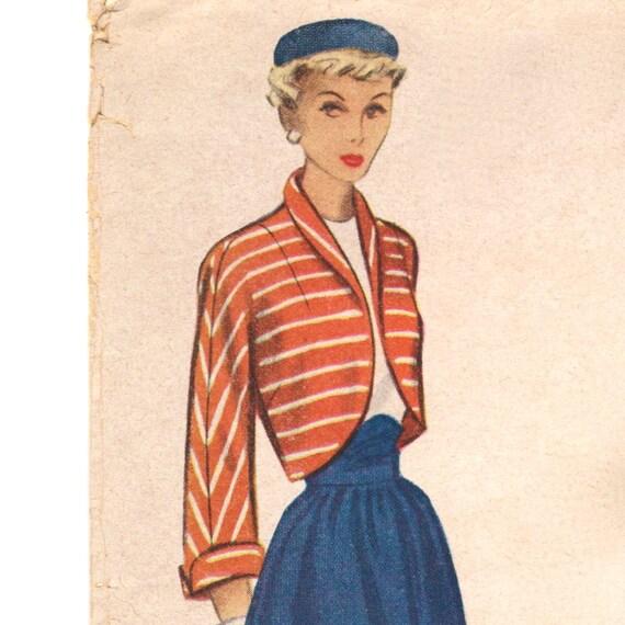 New Look late 1940s kimono-sleeved bolero pattern -- McCall 7570