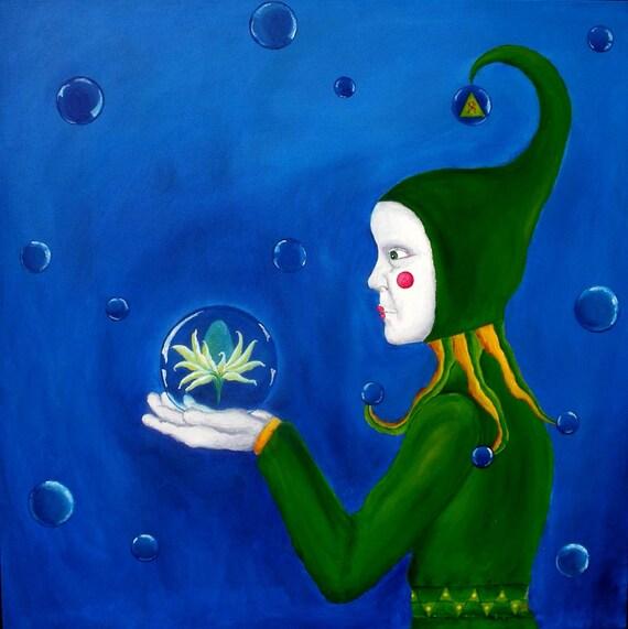"Aleph, 30X30 Original Acrylic Painting on 1.5"" Edge Finished Canvas"