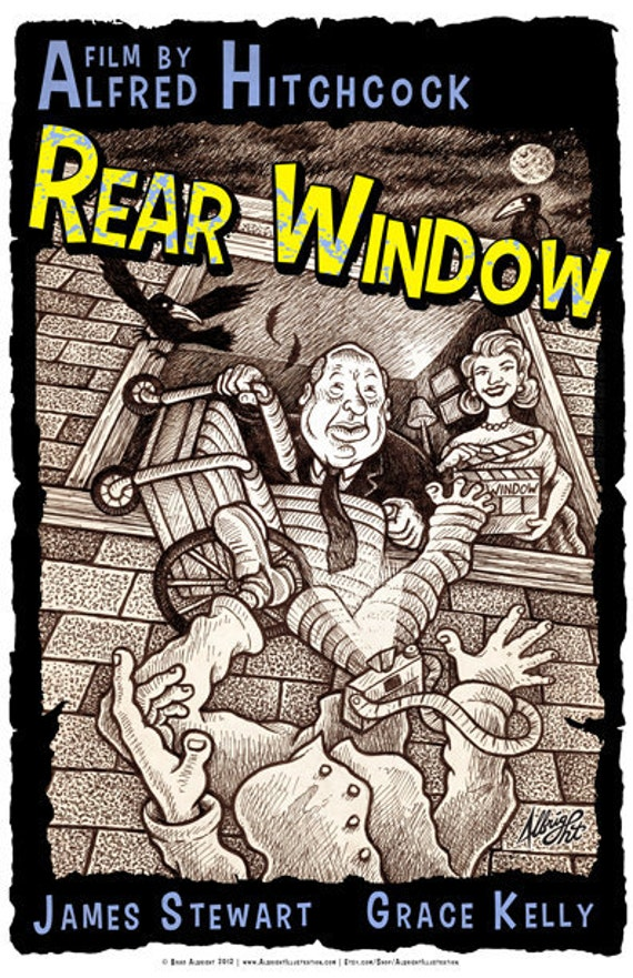 Hitchcock's Rear Window - 13x19 Archival Illustrated Movie Poster