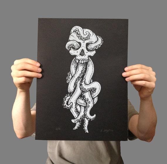 Tentacle Skull ridged silkscreen poster - 12x16