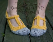 INSTANT DOWNLOAD Crochet Pattern for T-Strap Slippers