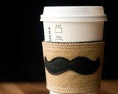 Mustache European Linen Inca Coffee Cup Cozy with Brushed Cotton Black Houndstooth Lining