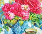 "ORIGINAL painting-  Red roses in Blue Vase and a Coffee, Watercolor, 19-1/2""(49.5cm) x 14""(35.5cm)"