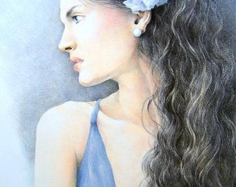 "ORIGINAL - ""Lady in Blue"" colored pencil portrait of a woman"