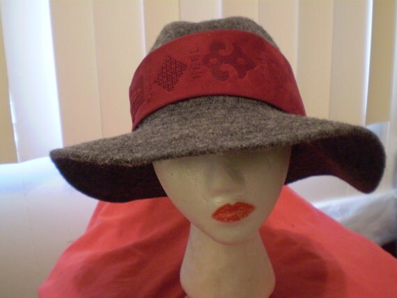 """22"""" Recycled Mint by Goorin Wool Gray Hat Wide Brim 3 1/4"""" with a  Red Suede Necktie and 3 Diamond Stud Earrings Church"""