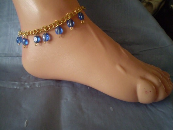 "CLEARANCE Womens 9""  plus - Ankle or Wrist Bracelet  Blue Oval Beads with Gold Tone Chain Large"