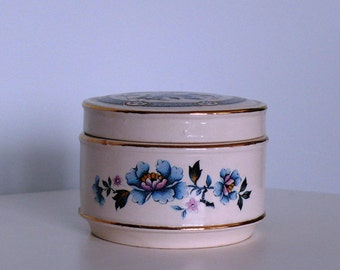 Vintage Ceramic Box with Floral Motif, Lovely English