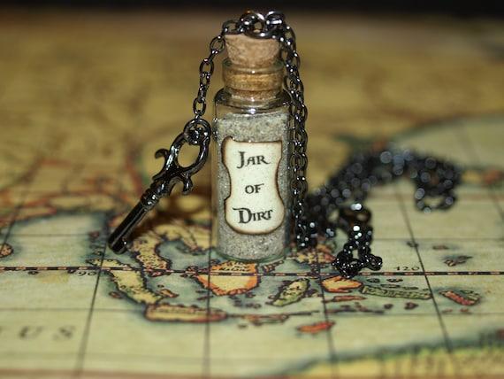 Necklace  Jar of Dirt and Key Gun Metal Disney Pirates of the Caribbean Jack Sparrow