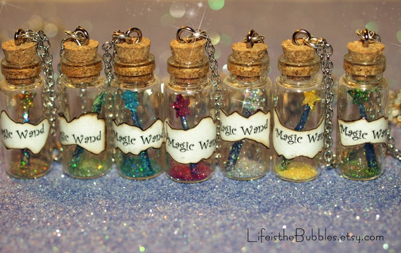 Personalized Disney Wedding Gifts: Bridesmaids Necklaces 4 Fairy Godmother Magic Wand Necklaces