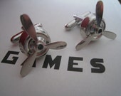 Geek-Tastic Steampunk Working/Spinning Propeller Cufflinks, SHINY SILVER