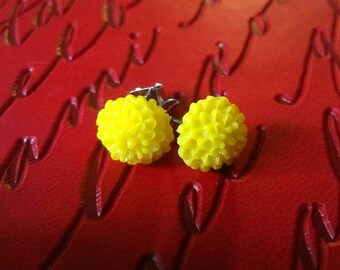 Vibrant Yellow Mum Spring Flower Post Earrings, Small Golden Flowers Earrings, Made From Hand-Carved Resin Mold, on Surgical Steel Posts