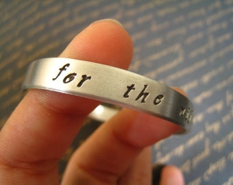 """Game of Thrones """"For the Night is Dark and Full of Terrors"""" Bangle, Melisandre, Red Priestess, R'hollor, Hand-Stamped Silver, Gift Wrapped"""