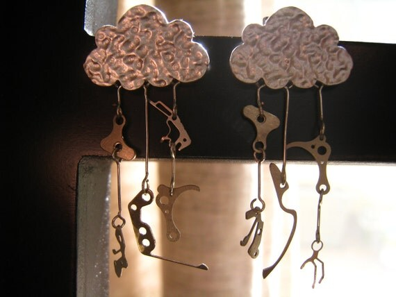 """Steampunk """"It's Raining Time"""" Earrings, Silver Clouds With 10 Tiny Antique Watch Gears and Plates, OOAK"""