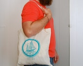 Sailboat Tote Bag, Teal Silkscreened Cotton Bag