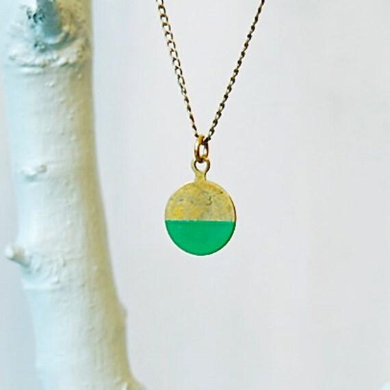 "Brass Geometric Handpainted Pendant Necklace, ""Half"""