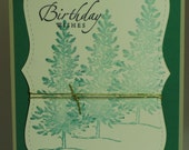 3 Trees Birthday Wishes Handmade Stamped Card