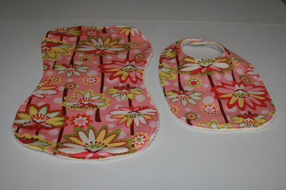 Baby Girl Bib & Burp Cloth Set -  Lilly Pads in Pale Pink