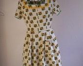 1960s Flower Print Fraulein Dress