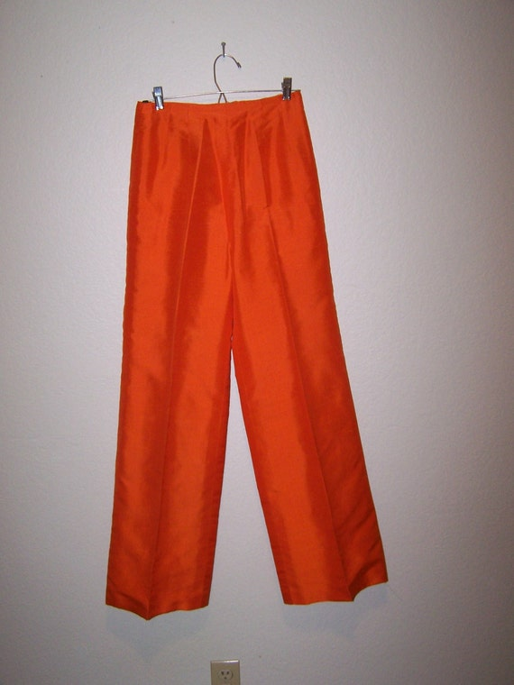 1960s Bright Orange Silk Pants