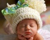 Baby Girl Hat, Beige Crochet Baby Hat with Pom Poms, Pom Pom Hat, Unisex Baby Hat, Baby Boy Hat, Crochet Hat