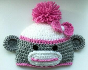 Girl Sock Monkey Hat, Toddler Sock Monkey Hat, Child Sock Monkey Hat, Teen Sock Monkey Hat, Adult Sock Monkey Hat, Baby Shower Gift