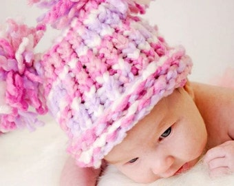 Knit Baby Hat, Pink Purple White with Pom Poms, Elf Hat, Pom Pom Hat, Newborn Baby Hat, Baby Girl Hat
