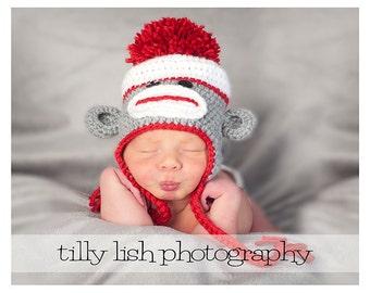 Sock Monkey Hat, Teen Sock Monkey Hat, Adult Sock Monkey Hat, Crochet Hat, Newborn Baby Hat, Baby Photo Prop