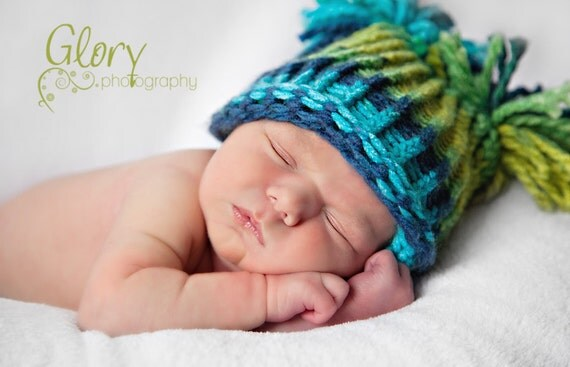 Pom Pom Baby Boy Hat, Knitted Blue & Green, Baby Elf Hat, Newborn Baby Hat, Knit Baby Hat, Knit Newborn Hat, Baby Shower Gift or Photo Prop
