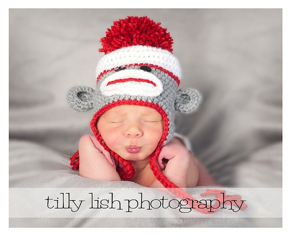 Sock Monkey Hat, Teen Sock Monkey Hat, Adult Sock Monkey Hat, Crochet Hat, Newborn Baby Hat, Baby Photo Prop