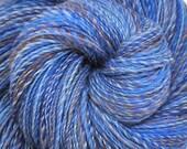 Handspun yarn Sale  - BLUE SPARKS - hand-dyed Superwash wool, fine sport weight. 750 yds.