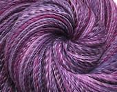 Hand spun yarn - JOY OF PURPLE - Handpainted Polwarth wool, fine sport weight, 380 yards