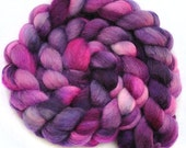 Hand painted roving - AMETHYST CRYSTAL - Blue Faced Leicester (BFL) wool spinning fiber, 4.0 ounces