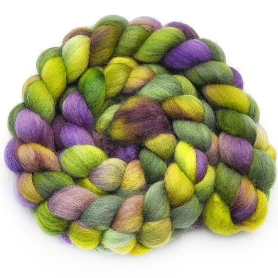 Hand painted roving - CROCUS MEADOW - Falkland wool spinning fiber, 3.9 ounces