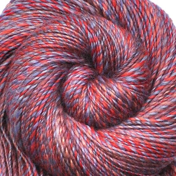 Handspun yarn - YOUNGEST PRINCESS - Handpainted Silk / Blue Faced Leicester wool yarn, DK weight, 650 yards