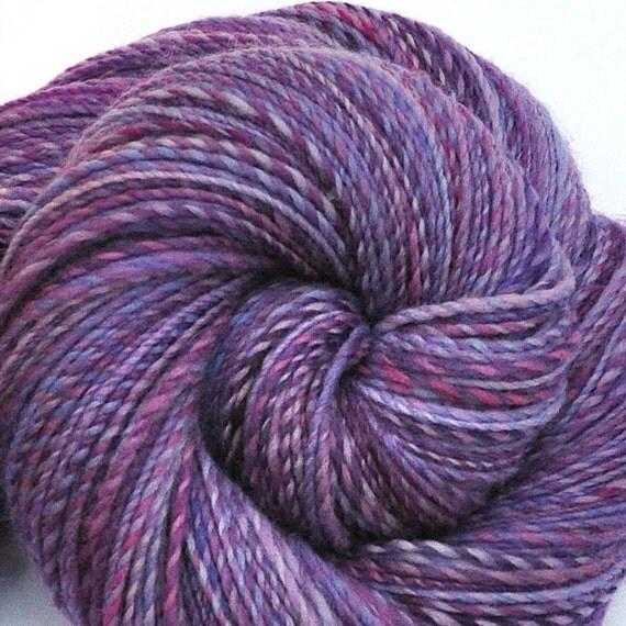 Hand spun yarn - THAI ORCHID - Handpainted Polwarth wool yarn, fine sport weight, 735 yards