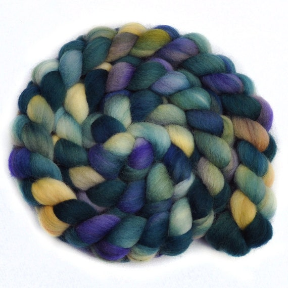Handdyed roving - ACADIA - English Shetland wool spinning fiber, 4.2 ounces
