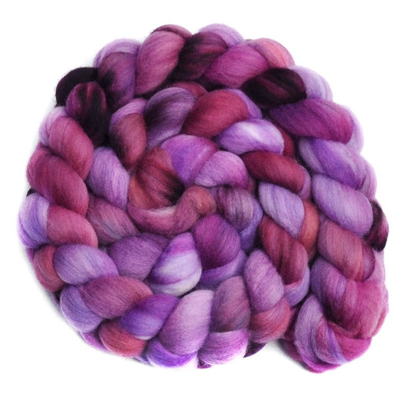 Hand painted roving - AMETHYST SMOKE - Merino wool spinning fiber, 4.1 ounces