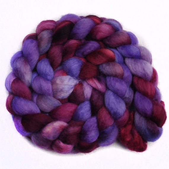 Handpainted roving - HIS EMINENCE - Blue Faced Leicester (BFL) wool spinning fiber, 4.0 ounces