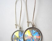 Iridescent Swarovski rivoli earrings