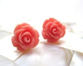 Salmon pink rose earrings - coral pink roses on titanium studs - NICKEL FREE for sensitive ears
