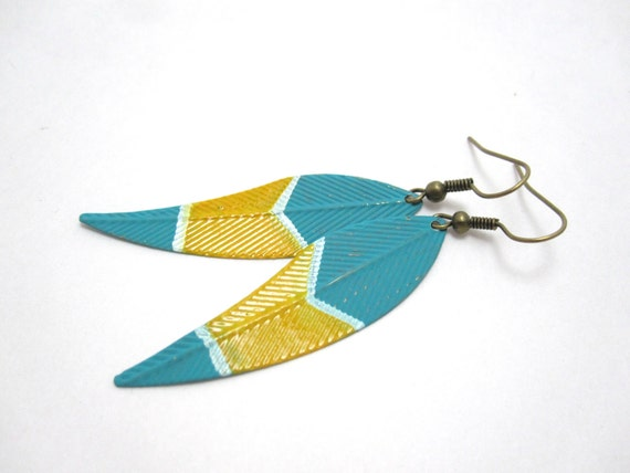 painted turquoise feather earrings