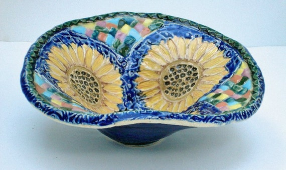 small handmade ceramic pottery sunflower bowl