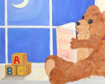 Fine Art Print of Original Painting Teddy Bear and Baby Bear Reading by Moon Lit window, children, nursery, sunday school